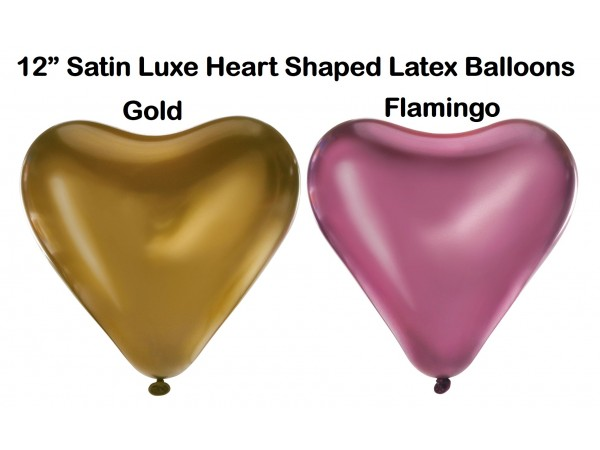 """12"""" Satin Lux Heart Shaped Latex Balloons (6 Ct)"""