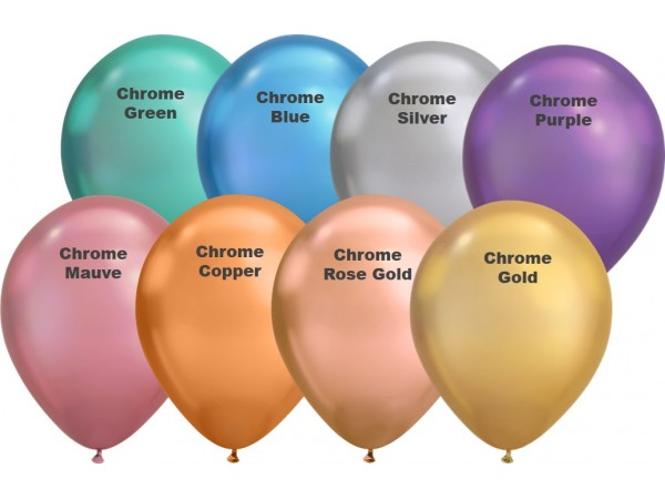 """11"""" Chrome 8 Color Latex Balloons (100 ct)"""