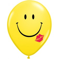 16 Inch A Smile & A Kiss Yellow Printed Latex Balloons (25 ct)