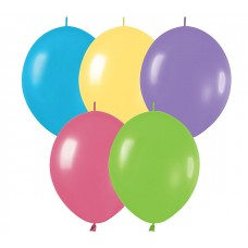 12 Inch Deluxe Assortment Link-O-Loon Latex Balloons (50 ct)