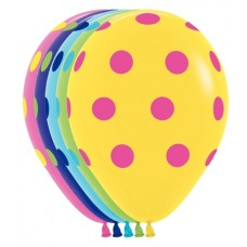 "Betallatex 11"" Multi Color Polka Dots Deluxe Fuchsia, Key Lime; Fashion Yellow, Blue, Violet (50 ct)"