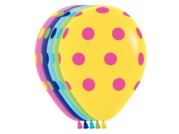 """Betallatex 11"""" Multi Color Polka Dots Deluxe Fuchsia, Key Lime; Fashion Yellow, Blue, Violet (50 ct)"""