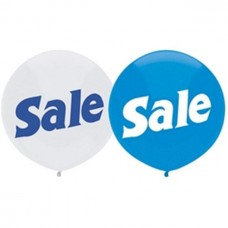"""BSA 17"""" Assorted Bright Blue w/ White Ink & Bright White w/ Blue Ink SALE Latex Balloons (50 ct)"""
