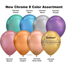 "7"" Chrome 8 Color Latex Balloons (100 ct)"