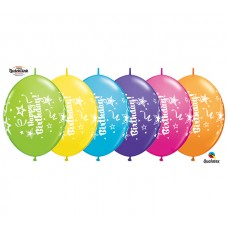 12 Inch Tropical Assortment QuickLink Birthday Latex Balloons (50 ct)