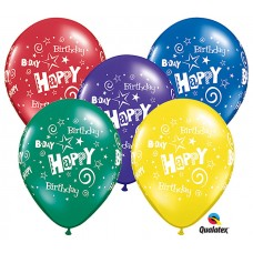 11 Inch Radiant Jewel Assortment Birthday Stars & Swirls Latex Balloons (50 ct)