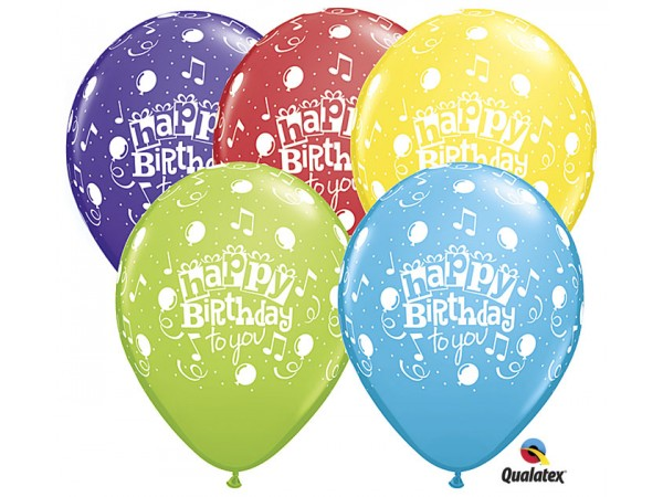 11 Inch Happy Birthday Musical Notes (50 ct)