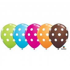11 inch Assorted Colors, Big Polka Dots, Latex Balloons (50 Ct)