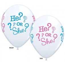 11 Inch Baby He? Or She? Latex Balloons (50 ct)
