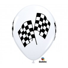 11 inch Racing Flags Printed Latex Balloons. 50 Count
