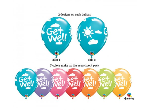 11 Inch Get Well Printed Assortment (50 ct)