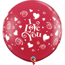 "36 inch Red ""I Love You"" Swirling Hearts Printed Latex Balloons (2 ct)"