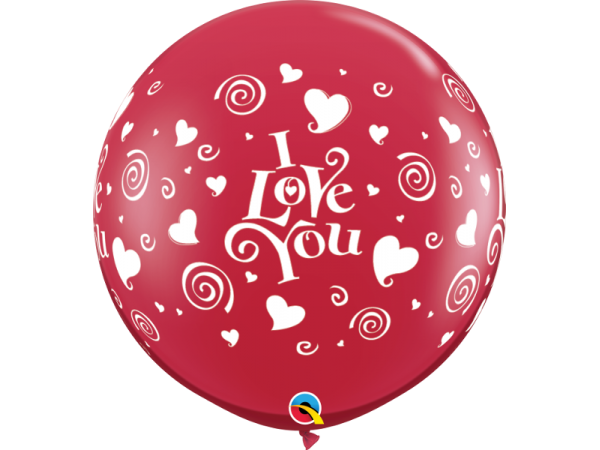 """36 inch Red """"I Love You"""" Swirling Hearts Printed Latex Balloons (2 ct)"""