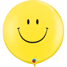 36 Inch Yellow Smile Face Printed Latex Balloons (2 ct)