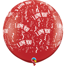 36 Inch Ruby Red I Love You-A-Round Printed Latex Balloons (2 ct)