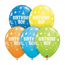 11 Inch Assorted Dark Blue, Yellow, Orange, Robin's Egg Blue, & Lime Green Birthday Boy Latex Balloons (50 ct)