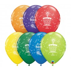 11 Inch Carnival Assortment Birthday Cake & Candle Latex Balloons (50 ct)