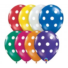 11 Inch Jewel Assortment Big Polka Dots Latex Balloons (50 ct)