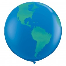 36 inch Blue / Green Globe Printed Latex Balloons (2 ct)