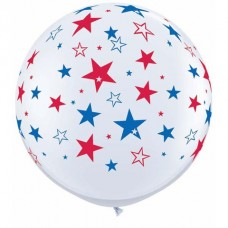 36 Inch White with Blue/Red Stars Printed Latex Balloons (2 ct)