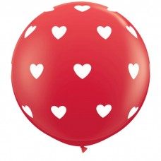 36 Inch Red Big Hearts Around Printed Latex Balloons (2 ct)