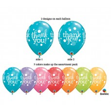 11 Inch Festive Assortment Printed Thank You Dots Latex Balloons (50 ct)