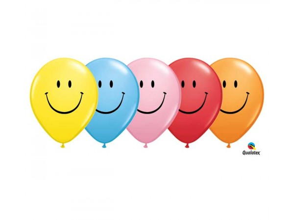 11 Inch Assortment Smile Face Latex Balloons (50 ct)