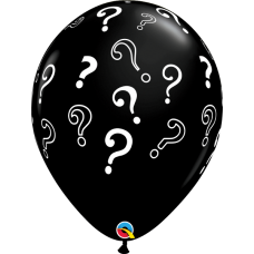 16 Inch Onyx Black Printed Question Marks Latex Balloons (25 ct)