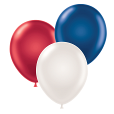 17 Inch Metallic Patriotic Latex Balloons (25 Ct)
