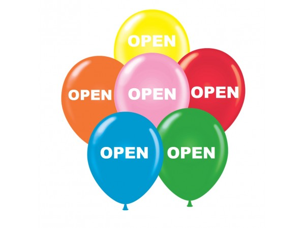 """17"""" OPEN Printed Latex Balloons (50 ct)"""
