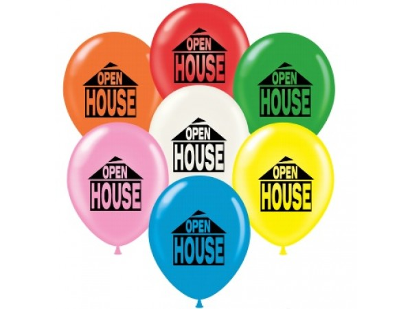 """17"""" OPEN HOUSE Printed Latex Balloons (50 ct)"""