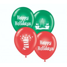 17 Inch Happy Holiday Printed Assortment Latex Balloons (50 ct)