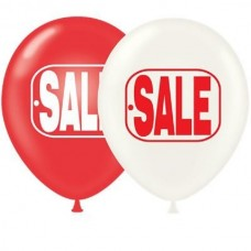 "17"" Red & White SALE Printed Latex Balloons (50 ct)"