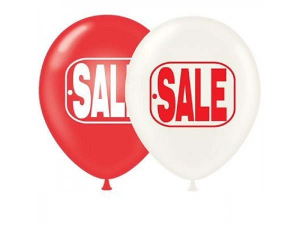 """17"""" Red & White SALE Printed Latex Balloons (50 ct)"""
