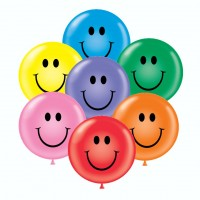 24 Inch Color Assortment Smiley Face Latex Balloons (12 ct)