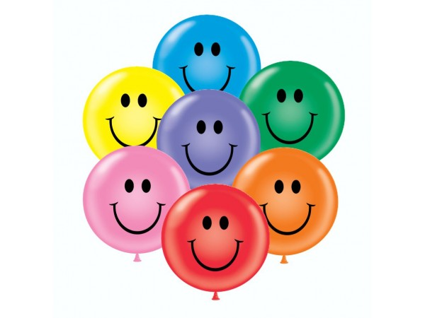 24 Inch Smiley Face Latex Balloons (25 ct)