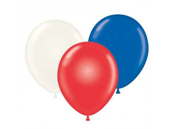 Crystal Red, White & Sapphire Blue Latex Balloons - 43